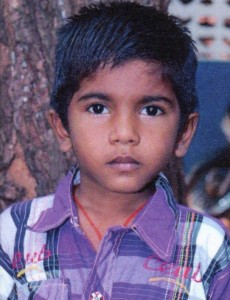 This is seven-year-old Raj Kumar from India, one of the children I sponsor through World Vision.